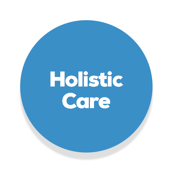 Blue circle with the text holistic care written in the middle