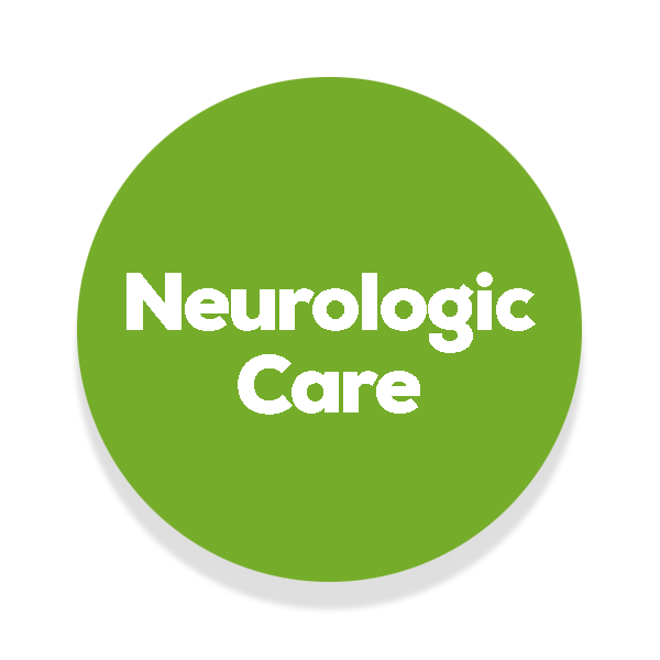 Green circle with the text neurologic care in the middle