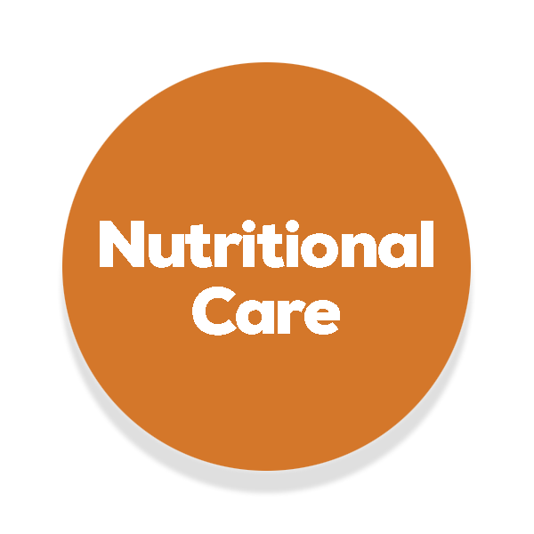 Orange circle with the text nutritional care written in the middle