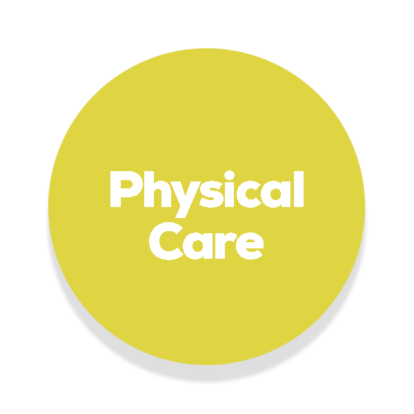 Yellowish circle with the text physical care written in the middle